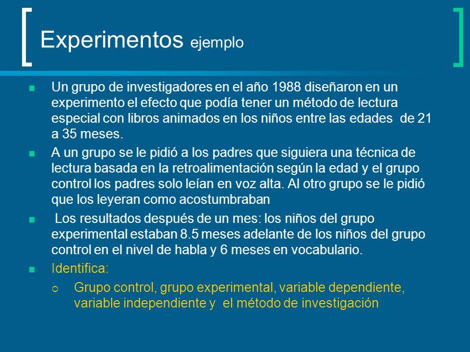 Experimentos ejemplo Un grupo de investigadores en el año 1988 diseñaron en un experimento el efecto que podía tener un método de lectura especial con