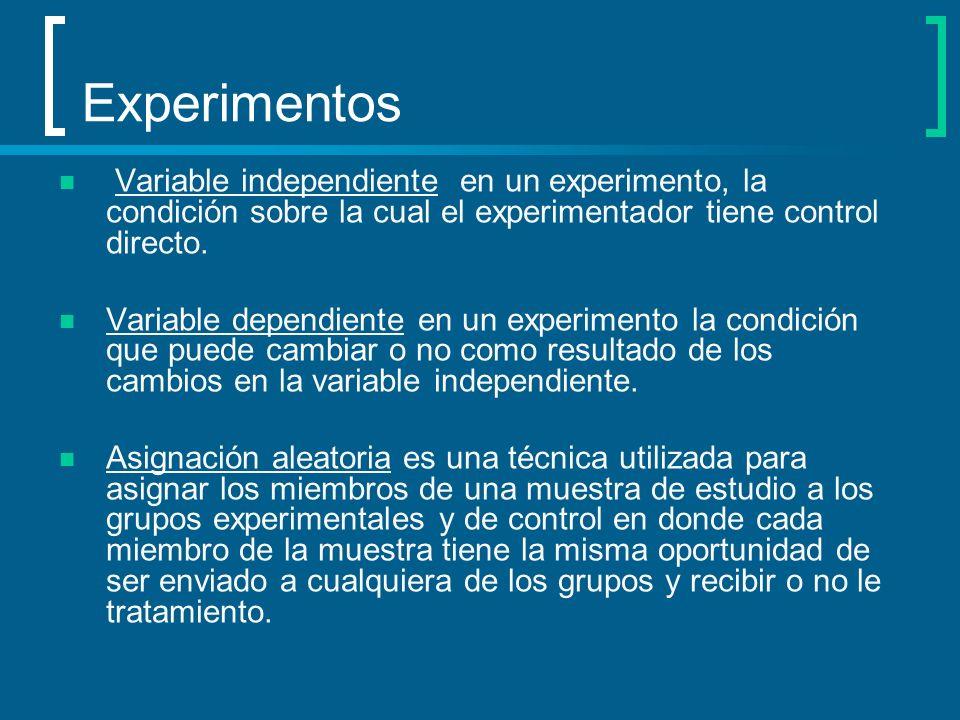 Experimentos Variable independiente en un experimento, la condición sobre la cual el experimentador tiene control directo. Variable dependiente en un