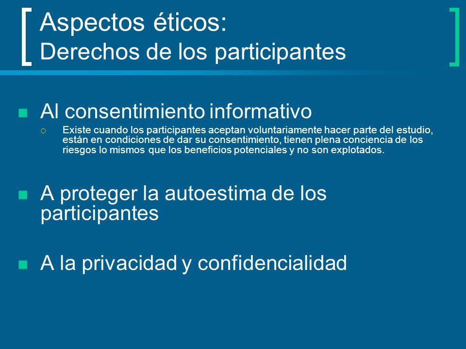 Aspectos éticos: Derechos de los participantes Al consentimiento informativo Existe cuando los participantes aceptan voluntariamente hacer parte del e