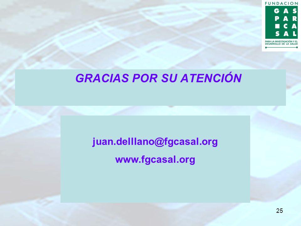 25 GRACIAS POR SU ATENCIÓN juan.delllano@fgcasal.org www.fgcasal.org