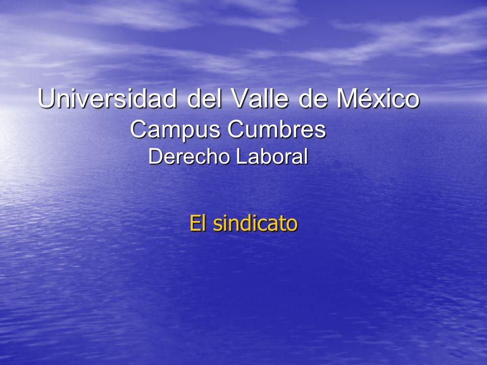 Universidad del Valle de México Campus Cumbres Derecho Laboral El sindicato