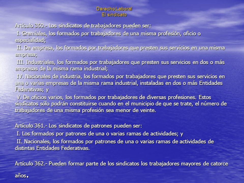 Derecho Laboral El sindicato Artículo 360.- Los sindicatos de trabajadores pueden ser: I. Gremiales, los formados por trabajadores de una misma profes