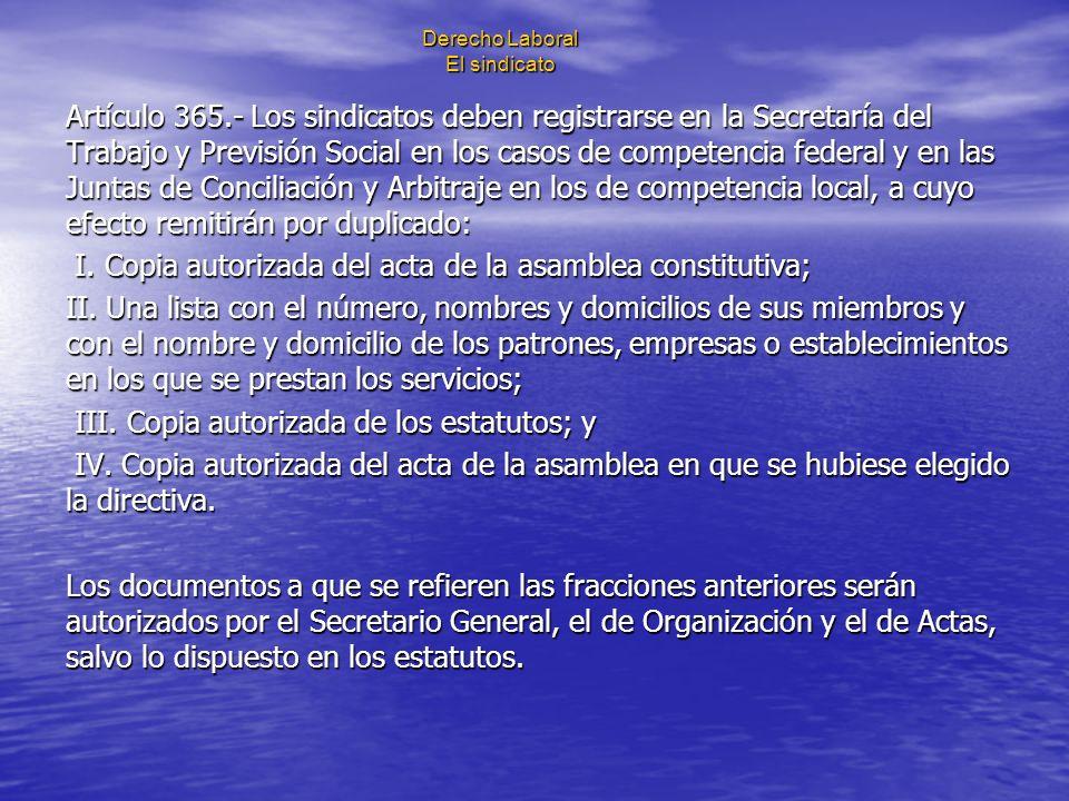 Derecho Laboral El sindicato Artículo 365.- Los sindicatos deben registrarse en la Secretaría del Trabajo y Previsión Social en los casos de competenc