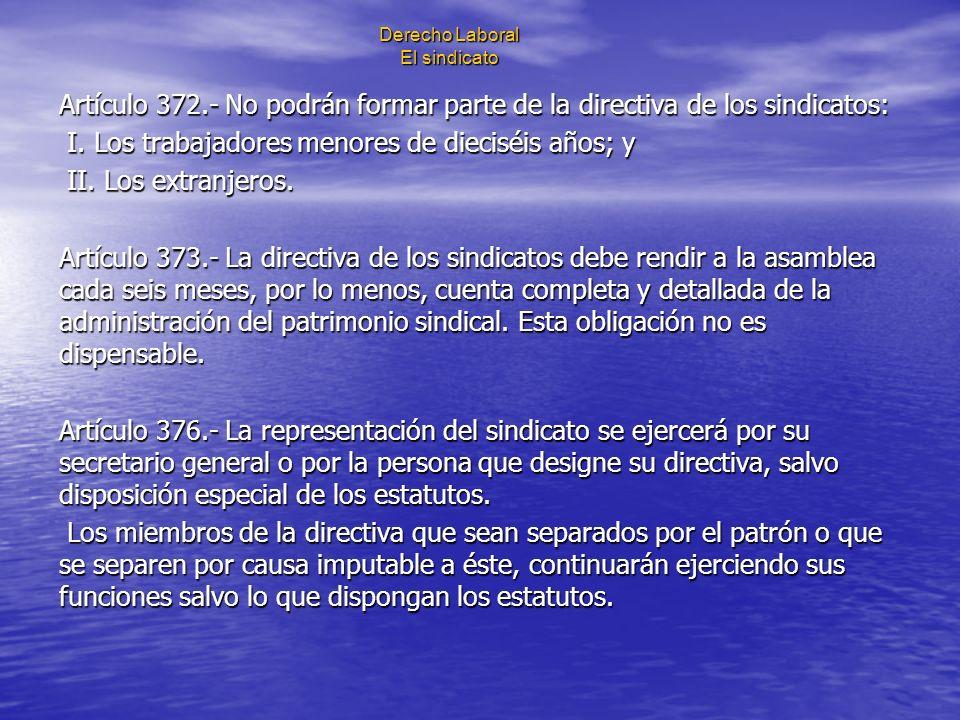 Derecho Laboral El sindicato Artículo 372.- No podrán formar parte de la directiva de los sindicatos: I. Los trabajadores menores de dieciséis años; y