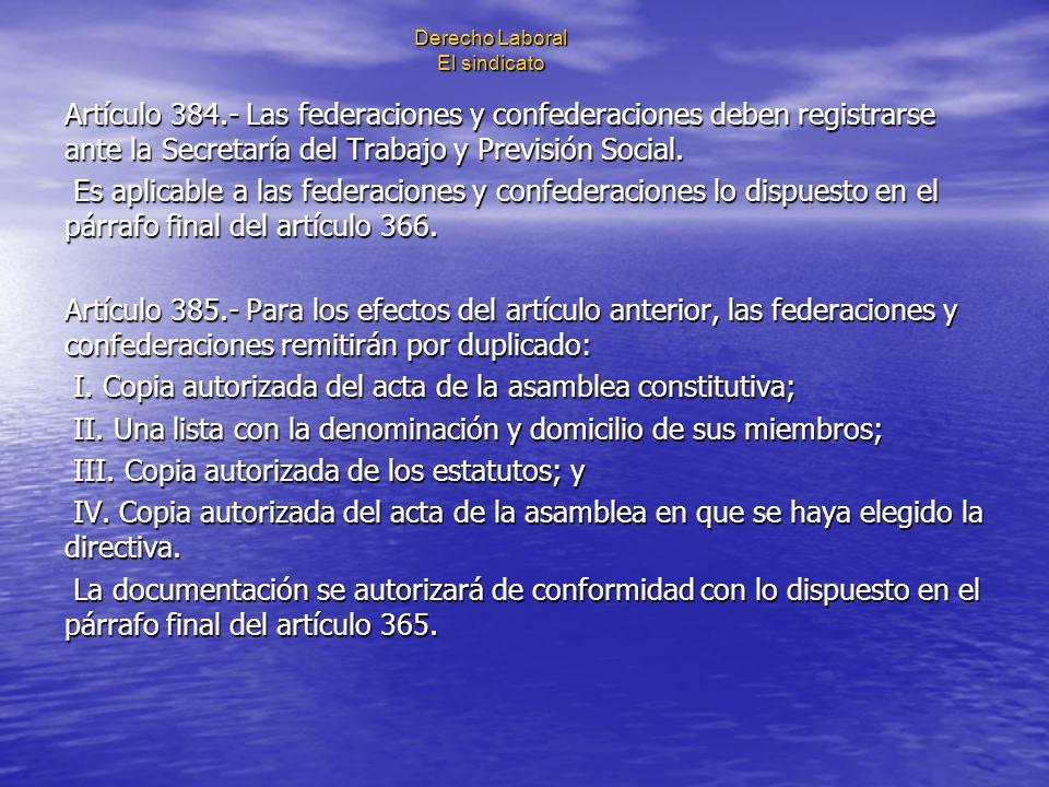 Derecho Laboral El sindicato Artículo 384.- Las federaciones y confederaciones deben registrarse ante la Secretaría del Trabajo y Previsión Social. Es