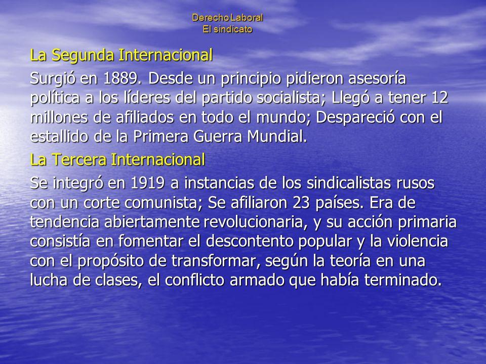 Derecho Laboral El sindicato La Segunda Internacional Surgió en 1889. Desde un principio pidieron asesoría política a los líderes del partido socialis
