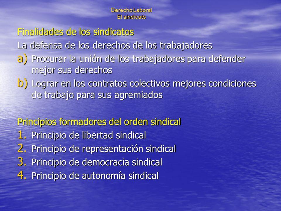 Derecho Laboral El sindicato Finalidades de los sindicatos La defensa de los derechos de los trabajadores a) Procurar la unión de los trabajadores par
