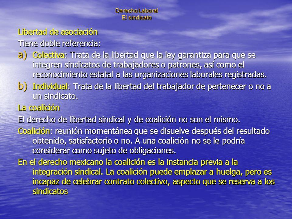 Derecho Laboral El sindicato Libertad de asociación Tiene doble referencia: a) Colectiva: Trata de la libertad que la ley garantiza para que se integr