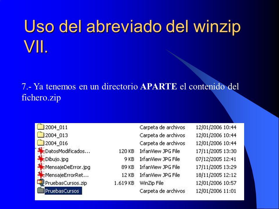 Uso del abreviado del winzip VII. 7.- Ya tenemos en un directorio APARTE el contenido del fichero.zip