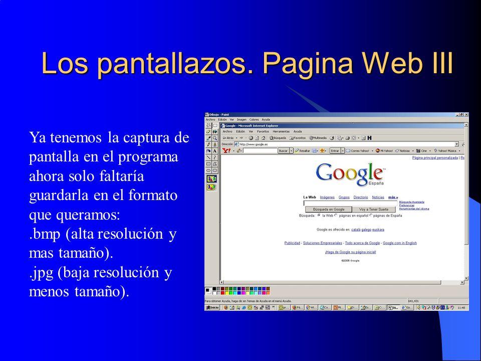 Los pantallazos. Pagina Web III Ya tenemos la captura de pantalla en el programa ahora solo faltaría guardarla en el formato que queramos:.bmp (alta r