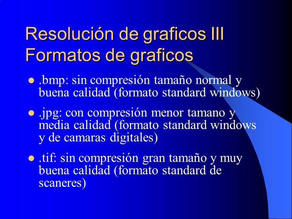 Resolución de graficos III Formatos de graficos.bmp: sin compresión tamaño normal y buena calidad (formato standard windows).jpg: con compresión menor