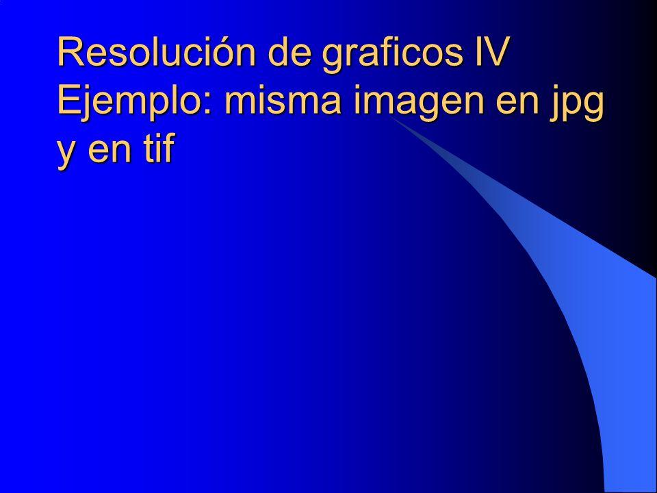 Resolución de graficos IV Ejemplo: misma imagen en jpg y en tif