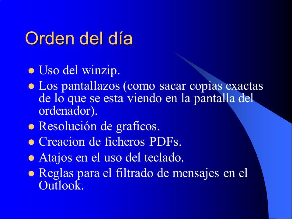 Orden del día Uso del winzip. Los pantallazos (como sacar copias exactas de lo que se esta viendo en la pantalla del ordenador). Resolución de grafico