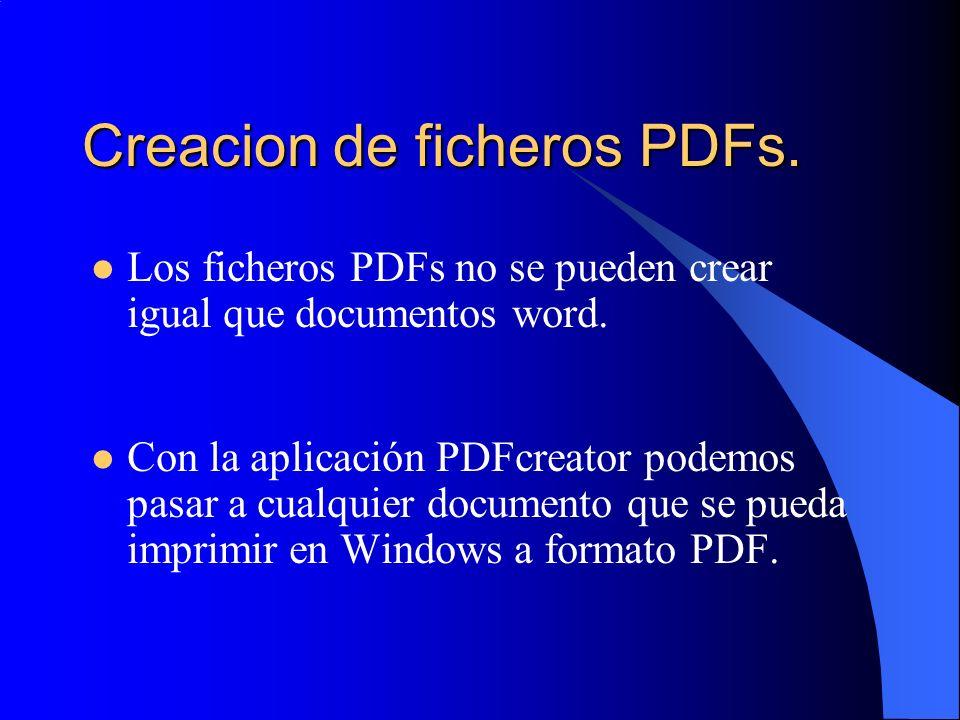 Creacion de ficheros PDFs. Los ficheros PDFs no se pueden crear igual que documentos word. Con la aplicación PDFcreator podemos pasar a cualquier docu