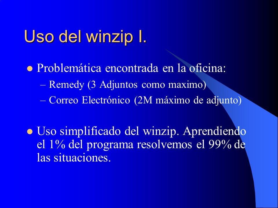 Uso del winzip I. Problemática encontrada en la oficina: –Remedy (3 Adjuntos como maximo) –Correo Electrónico (2M máximo de adjunto) Uso simplificado
