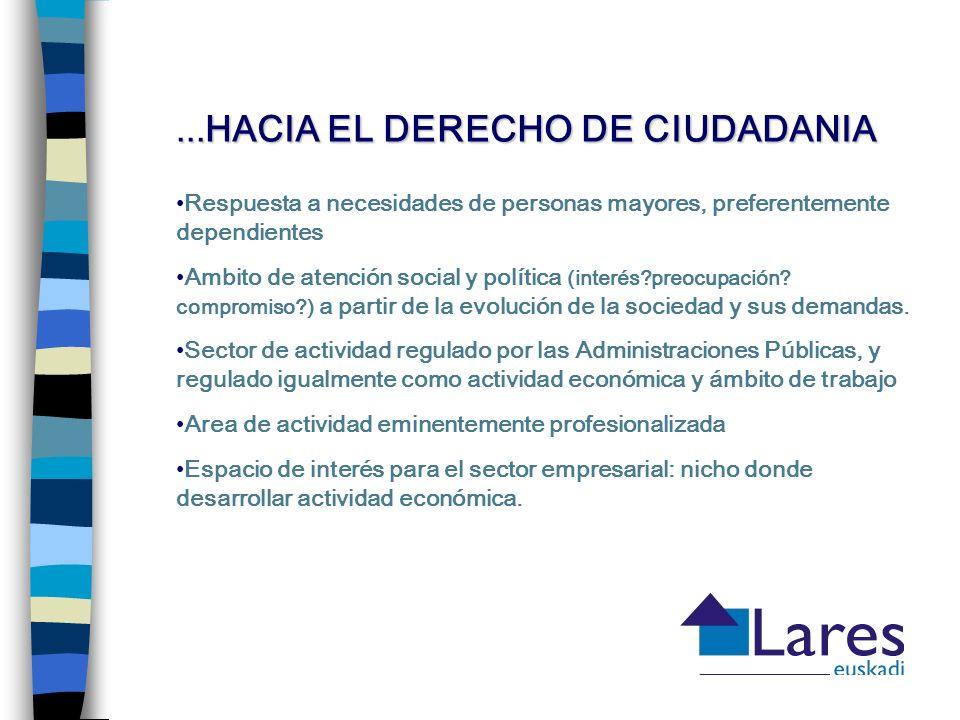 ... HACIA EL DERECHO DE CIUDADANIA Respuesta a necesidades de personas mayores, preferentemente dependientes Ambito de atención social y política (int