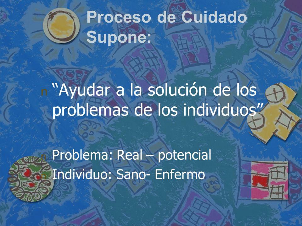 Proceso de Cuidado Supone: n n Ayudar a la solución de los problemas de los individuos n n Problema: Real – potencial n n Individuo: Sano- Enfermo