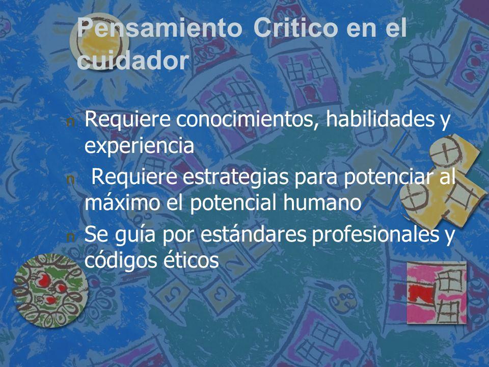 Pensamiento Critico en el cuidador n n Requiere conocimientos, habilidades y experiencia n n Requiere estrategias para potenciar al máximo el potencia