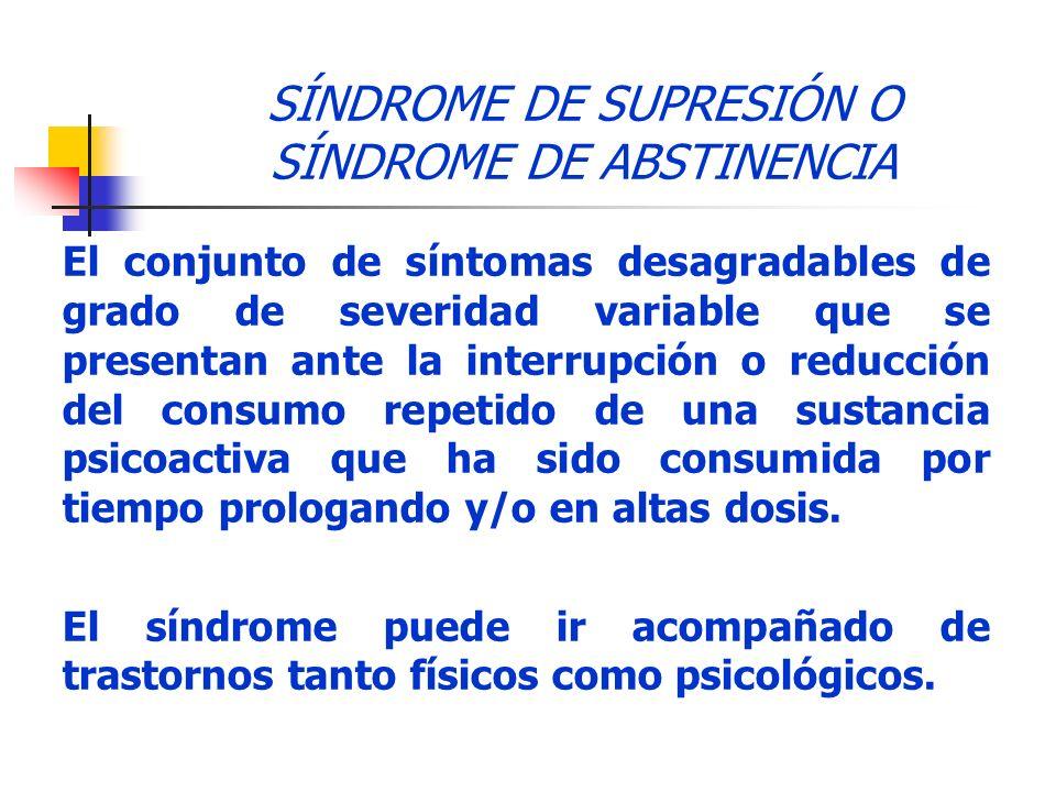 SÍNDROME DE SUPRESIÓN O SÍNDROME DE ABSTINENCIA El conjunto de síntomas desagradables de grado de severidad variable que se presentan ante la interrup