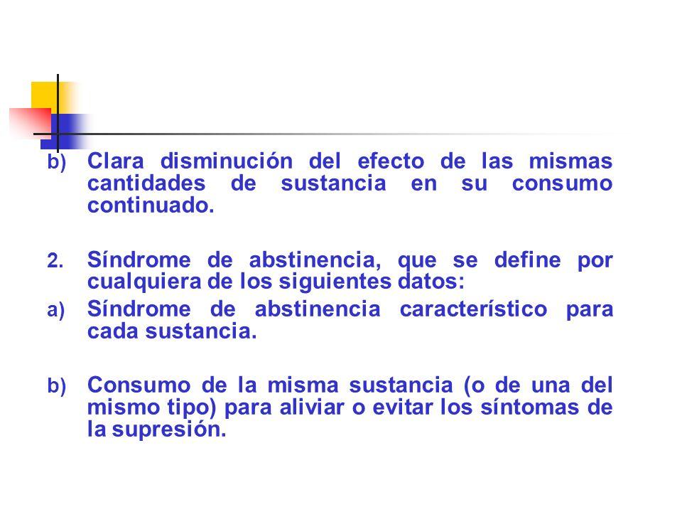 b) Clara disminución del efecto de las mismas cantidades de sustancia en su consumo continuado. 2. Síndrome de abstinencia, que se define por cualquie