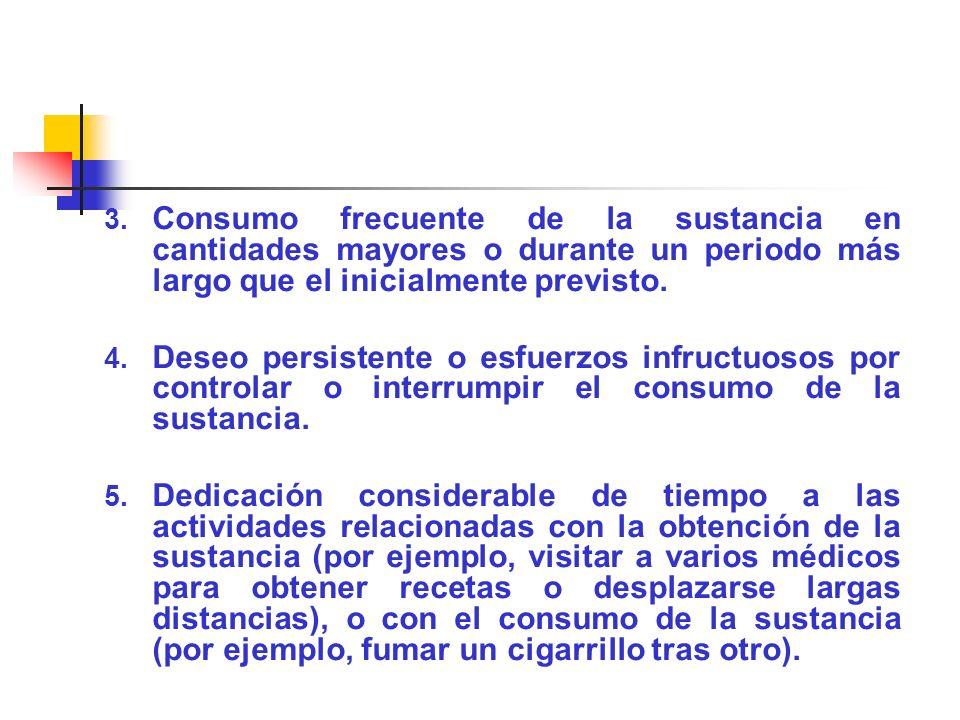 3. Consumo frecuente de la sustancia en cantidades mayores o durante un periodo más largo que el inicialmente previsto. 4. Deseo persistente o esfuerz