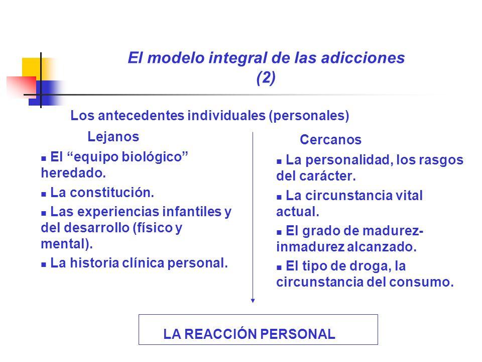 El modelo integral de las adicciones (2) Lejanos El equipo biológico heredado. La constitución. Las experiencias infantiles y del desarrollo (físico y