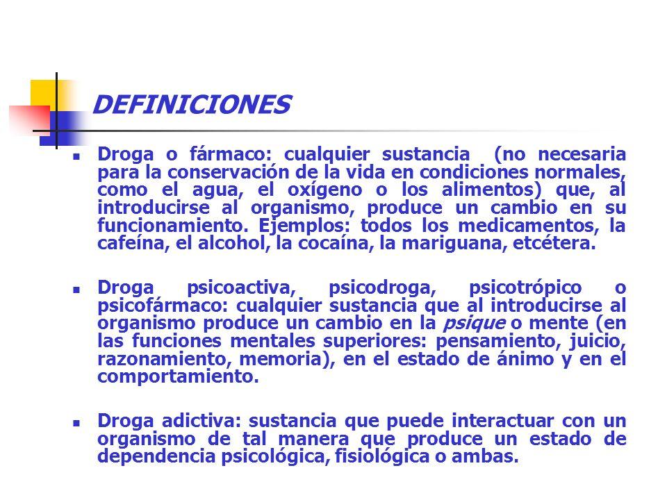 DEFINICIONES Droga o fármaco: cualquier sustancia (no necesaria para la conservación de la vida en condiciones normales, como el agua, el oxígeno o lo