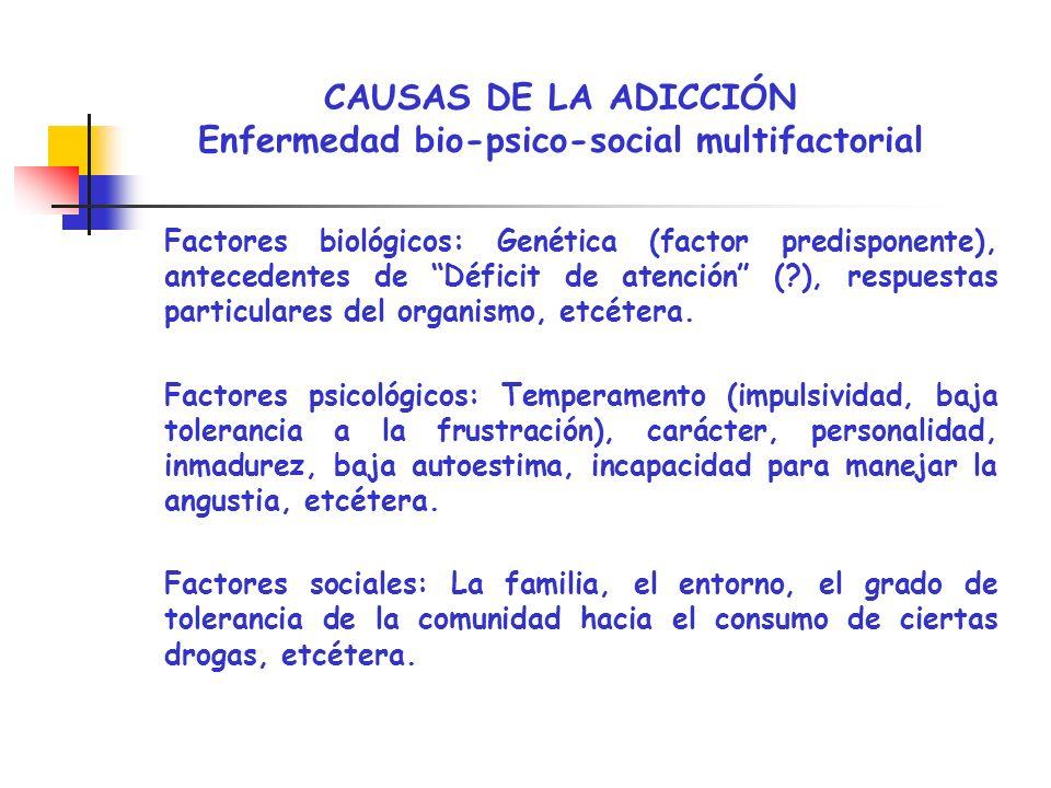 CAUSAS DE LA ADICCIÓN Enfermedad bio-psico-social multifactorial Factores biológicos: Genética (factor predisponente), antecedentes de Déficit de aten