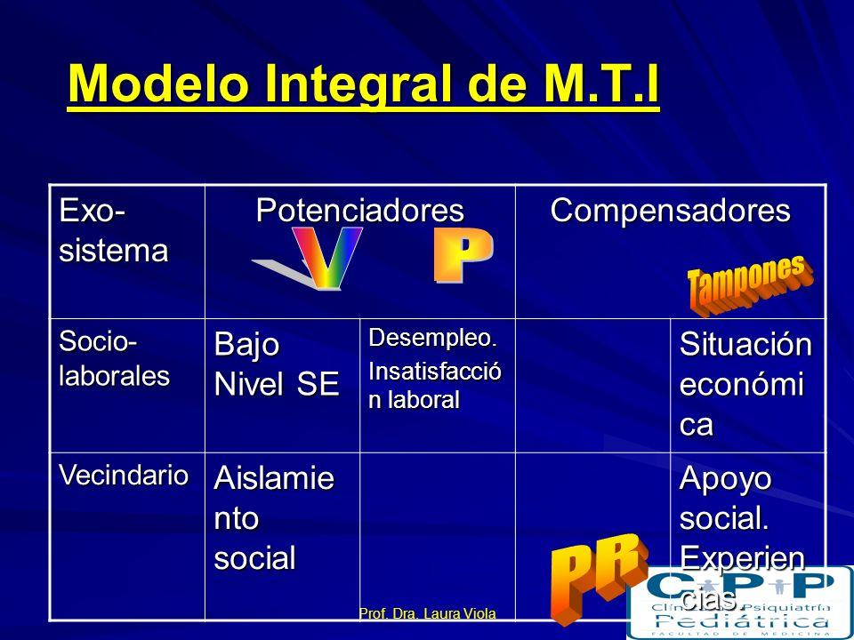 Prof. Dra. Laura Viola Modelo Integral de M.T.I Nivel Ecológico Vulnerabi- lidad Provoca- dores Protectore s Tampone s Desarrollo Ontogénic o Historia