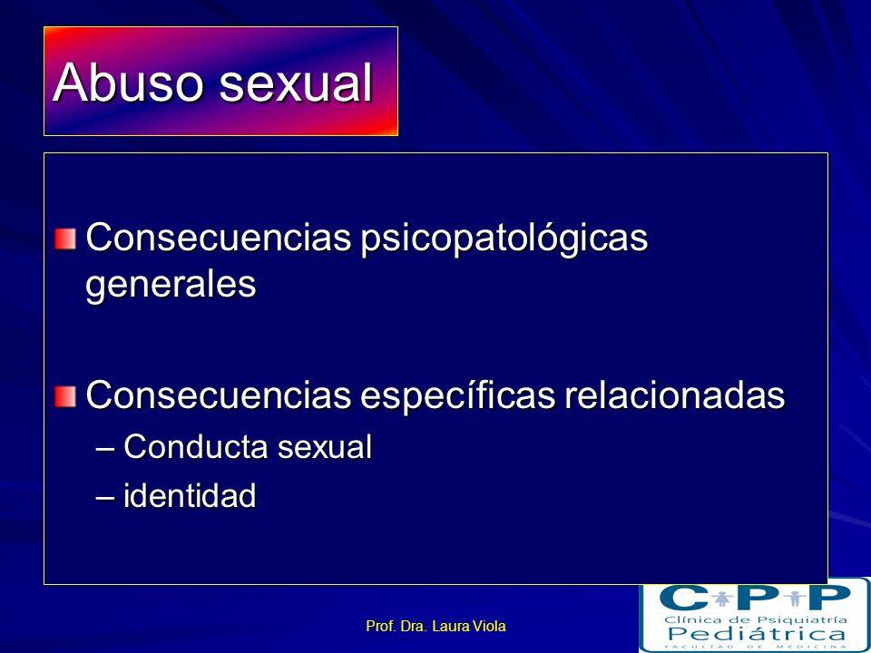 Prof. Dra. Laura Viola Maltratos físicos Alteraciones en el comportamiento –Disruptivo, oposicionista, desafiante, hiperactivo Alteraciones en el ánim