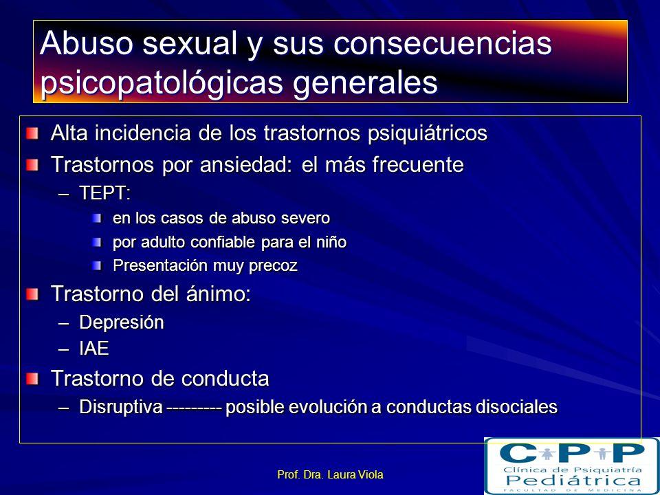 Prof. Dra. Laura Viola Abuso sexual Consecuencias psicopatológicas generales Consecuencias específicas relacionadas –Conducta sexual –identidad