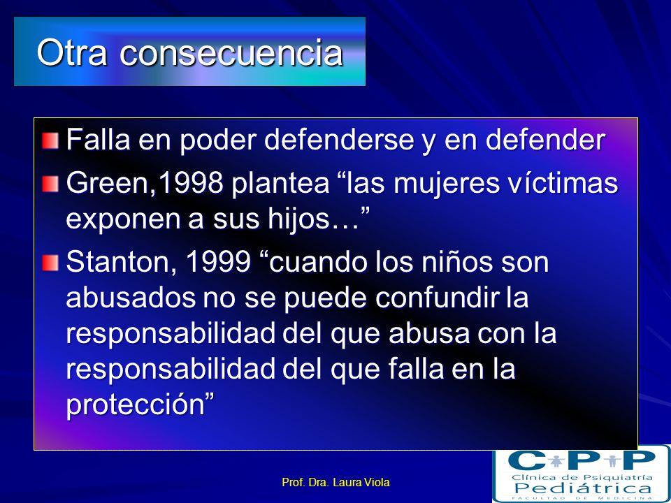 Prof. Dra. Laura Viola Abuso sexual y sus consecuencias en la conducta sexual Experiencia sexual –temprana –coercitiva –violenta Impacto adverso en de