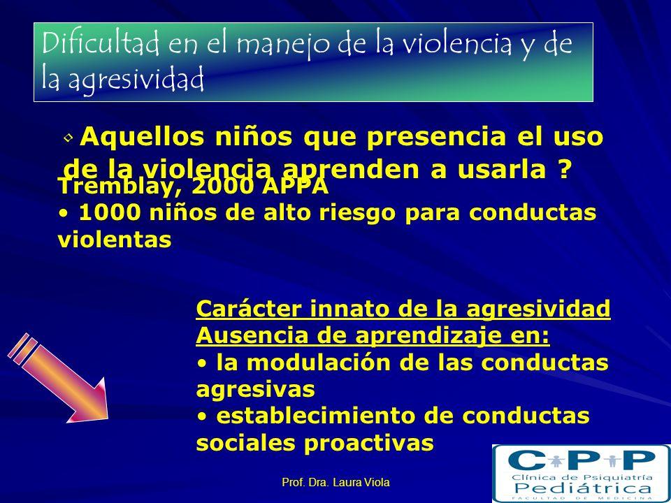 Prof. Dra. Laura Viola Dificultad en el manejo de la violencia y de la agresividad Aquellos niños que presencia el uso de la violencia aprenden a usar