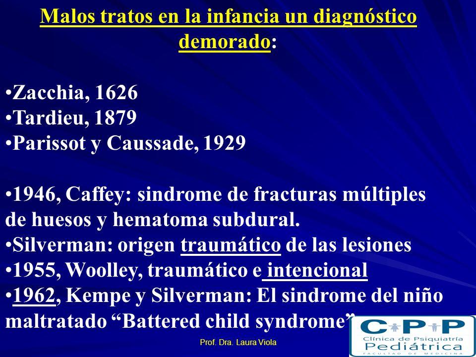 Malos tratos en la infancia un diagnóstico demorado: Zacchia, 1626 Tardieu, 1879 Parissot y Caussade, 1929 1946, Caffey: sindrome de fracturas múltiples de huesos y hematoma subdural.
