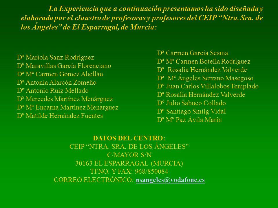 Dª Carmen García Sesma Dª Mª Carmen Botella Rodríguez Dª Rosalía Hernández Valverde Dª Mª Ángeles Serrano Masegoso Dº Juan Carlos Villalobos Templado