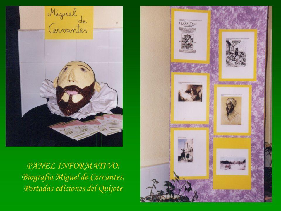 PANEL INFORMATIVO: Biografía Miguel de Cervantes. Portadas ediciones del Quijote