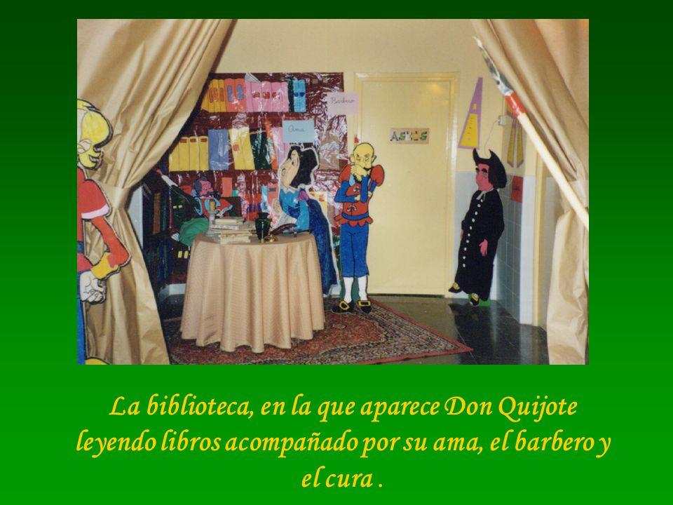 La biblioteca, en la que aparece Don Quijote leyendo libros acompañado por su ama, el barbero y el cura.