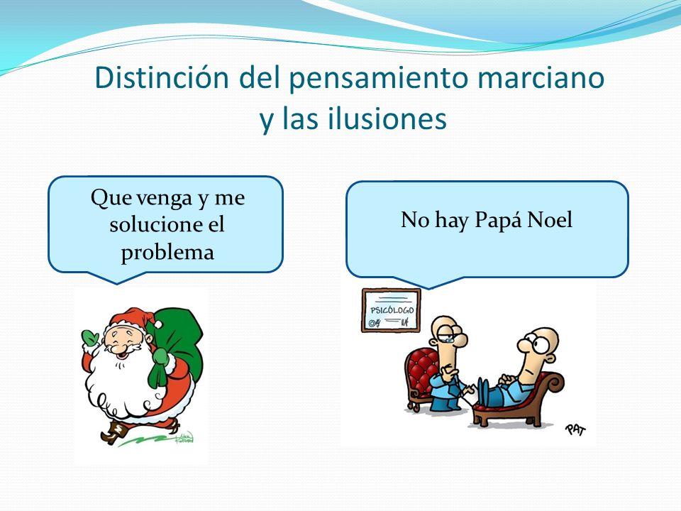 Distinción del pensamiento marciano y las ilusiones Que venga y me solucione el problema No hay Papá Noel