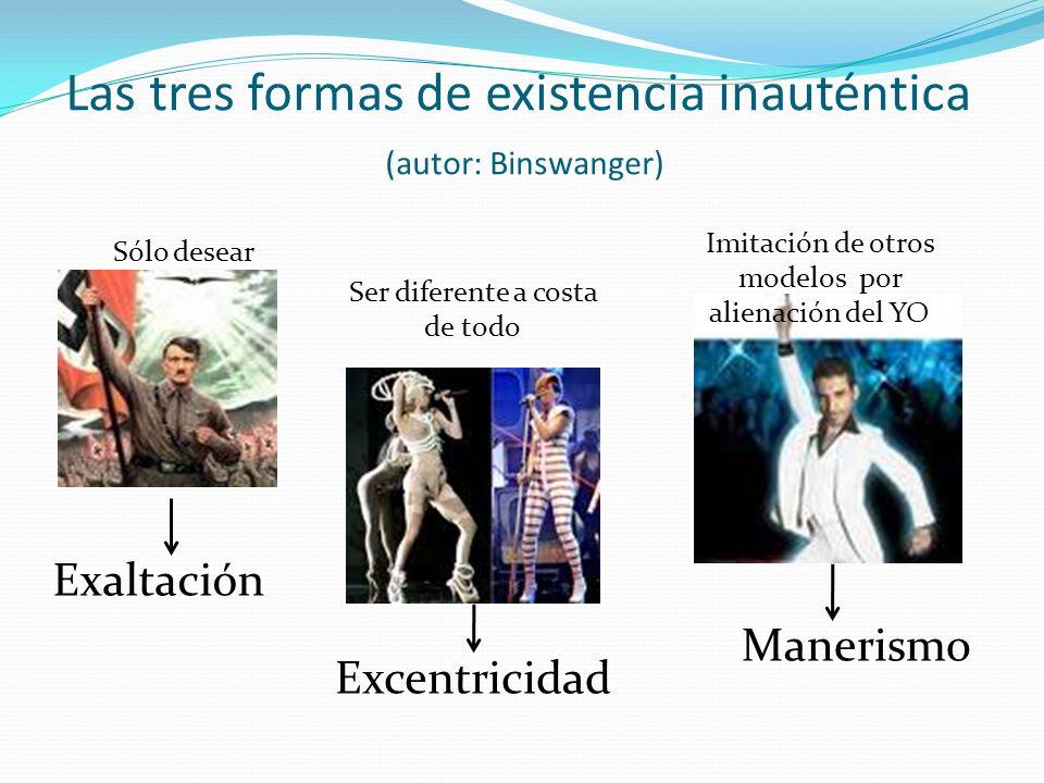 Las tres formas de existencia inauténtica (autor: Binswanger) Excentricidad Manerismo Exaltación Sólo desear Ser diferente a costa de todo Imitación d