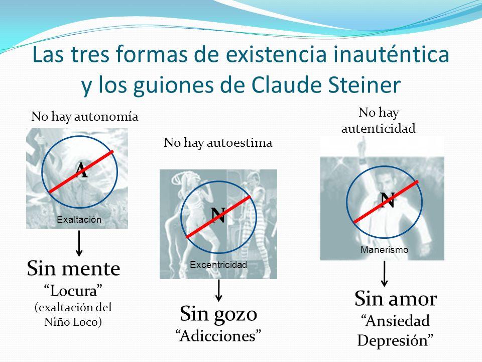 Las tres formas de existencia inauténtica y los guiones de Claude Steiner Sin gozo Adicciones Sin amor Ansiedad Depresión Sin mente Locura (exaltación