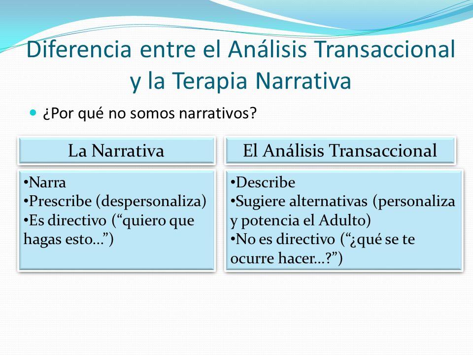 Diferencia entre el Análisis Transaccional y la Terapia Narrativa ¿Por qué no somos narrativos? La Narrativa El Análisis Transaccional Narra Prescribe