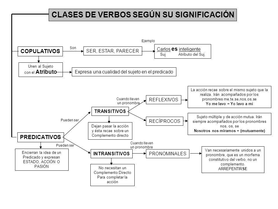 CLASES DE VERBOS SEGÚN SU SIGNIFICACIÓN COPULATIVOS PREDICATIVOS TRANSITIVOS INTRANSITIVOS Encierran la idea de un Predicado y expresan ESTADO, ACCIÓN