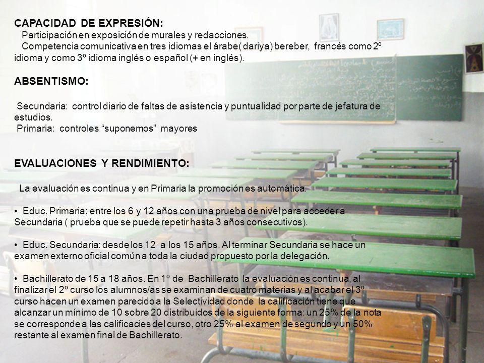 CAPACIDAD DE EXPRESIÓN: Participación en exposición de murales y redacciones.