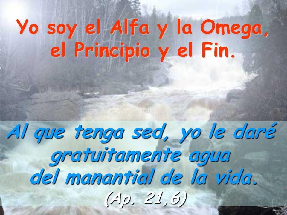 Yo soy el Alfa y la Omega, el Principio y el Fin. Al que tenga sed, yo le daré gratuitamente agua del manantial de la vida. (Ap. 21,6)