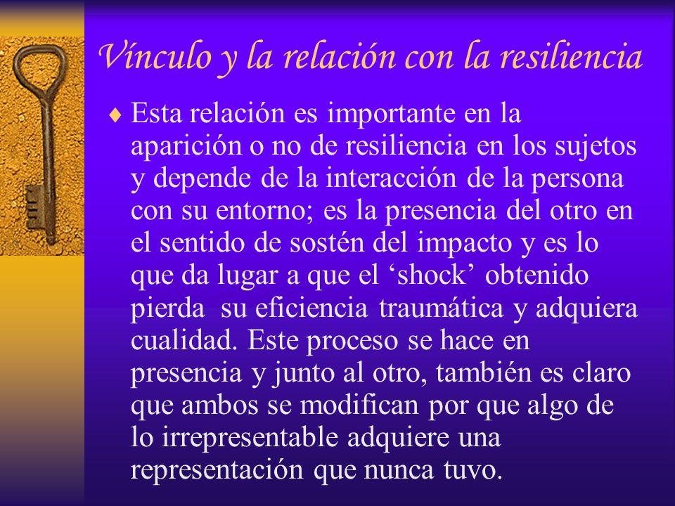 Esta relación es importante en la aparición o no de resiliencia en los sujetos y depende de la interacción de la persona con su entorno; es la presenc
