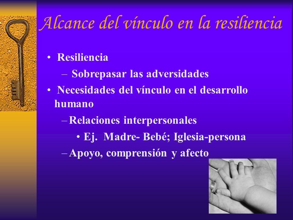 Resiliencia – Sobrepasar las adversidades Necesidades del vínculo en el desarrollo humano –Relaciones interpersonales Ej. Madre- Bebé; Iglesia-persona