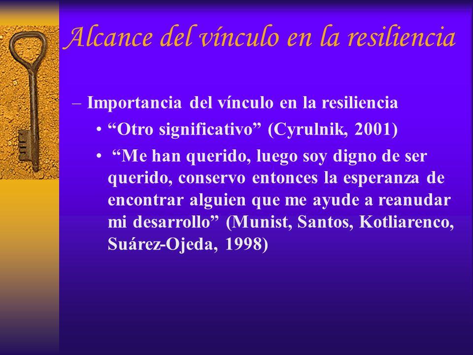 –Importancia del vínculo en la resiliencia Otro significativo (Cyrulnik, 2001) Me han querido, luego soy digno de ser querido, conservo entonces la es