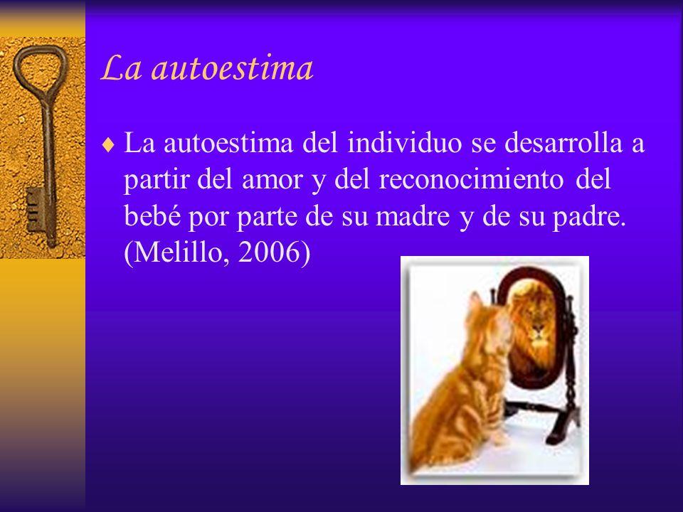 La autoestima La autoestima del individuo se desarrolla a partir del amor y del reconocimiento del bebé por parte de su madre y de su padre. (Melillo,
