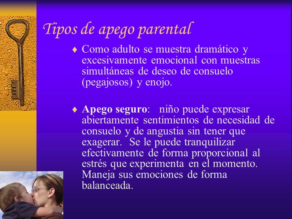 Tipos de apego parental Como adulto se muestra dramático y excesivamente emocional con muestras simultáneas de deseo de consuelo (pegajosos) y enojo.