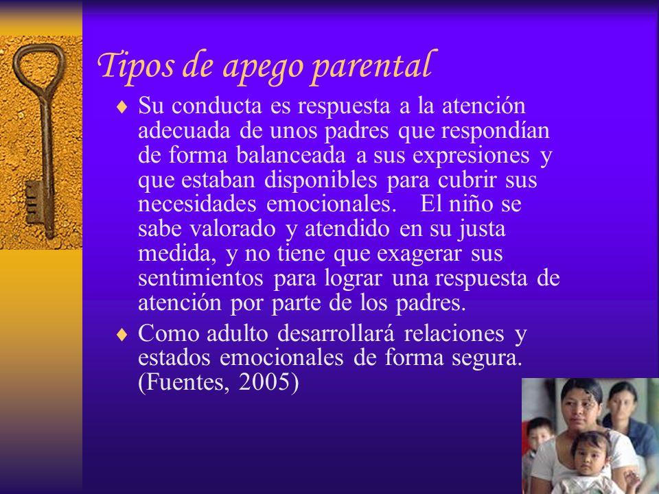 Tipos de apego parental Su conducta es respuesta a la atención adecuada de unos padres que respondían de forma balanceada a sus expresiones y que esta